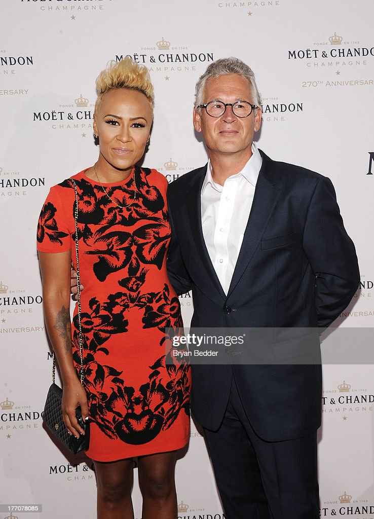Recording artist Emeli Sande and Moet & Chandon CEO Stephane Baschiera attend Moet & Chandon Celebrates Its 270th Anniversary With New Global Brand Ambassador, International Tennis Champion, Roger Federer at Chelsea Piers Sports Center on August 20, 2013 in New York City.