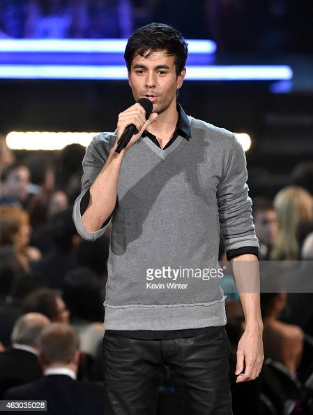 Recording artist Enrique Iglesias speaks onstage during The 57th Annual GRAMMY Awards at the STAPLES Center on February 8 2015 in Los Angeles...