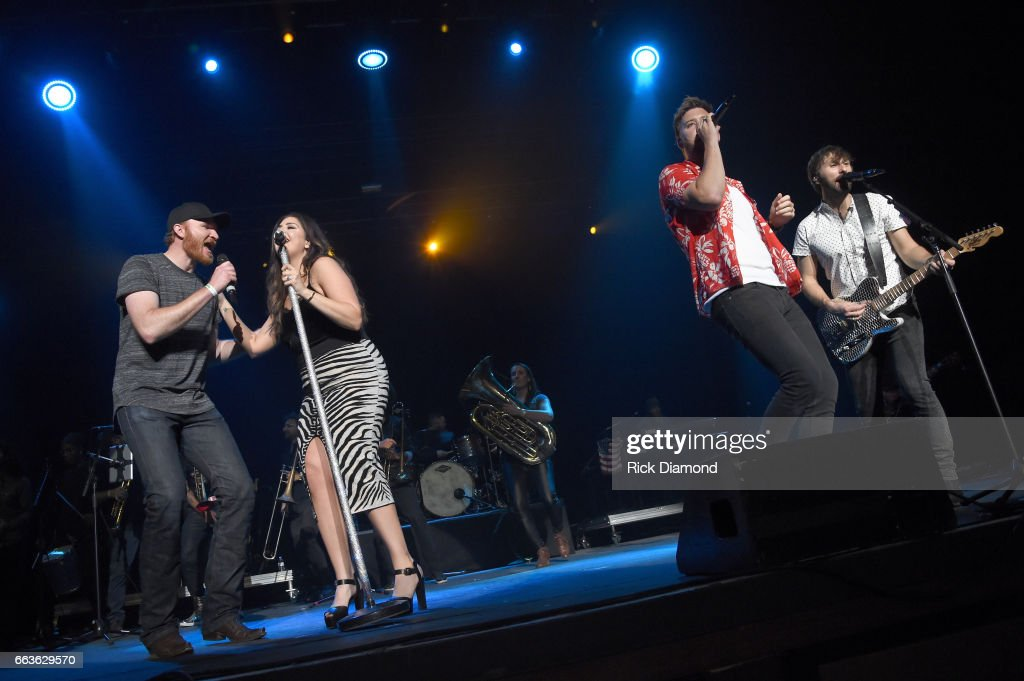 Recording artist Eric Paslay and recording artists Hillary Scott, Charles Kelley and Dave Haywood of Lady Antebellum perform onstage during the ACM Party For A Cause: The Joint at The Joint inside the Hard Rock Hotel & Casino on April 1, 2017 in Las Vegas, Nevada.