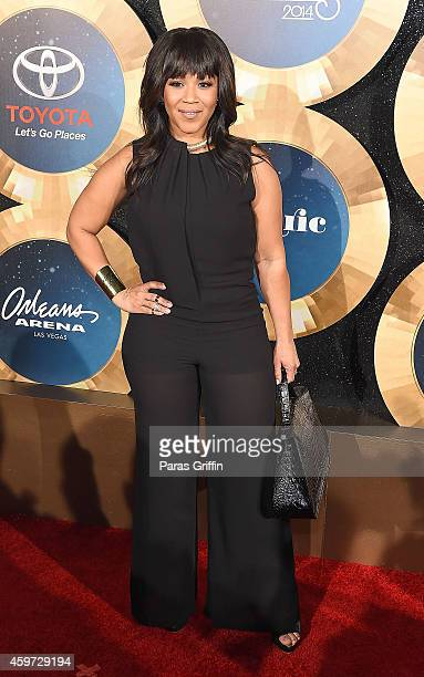 Recording artist Erica Campbell attends the 2014 Soul Train Music Awards at the Orleans Arena on November 7 2014 in Las Vegas Nevada