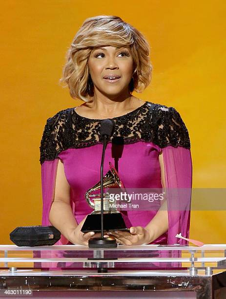 Recording artist Erica Campbell speaks onstage during The 57th Annual GRAMMY Awards premiere ceremony at STAPLES Center on February 8 2015 in Los...