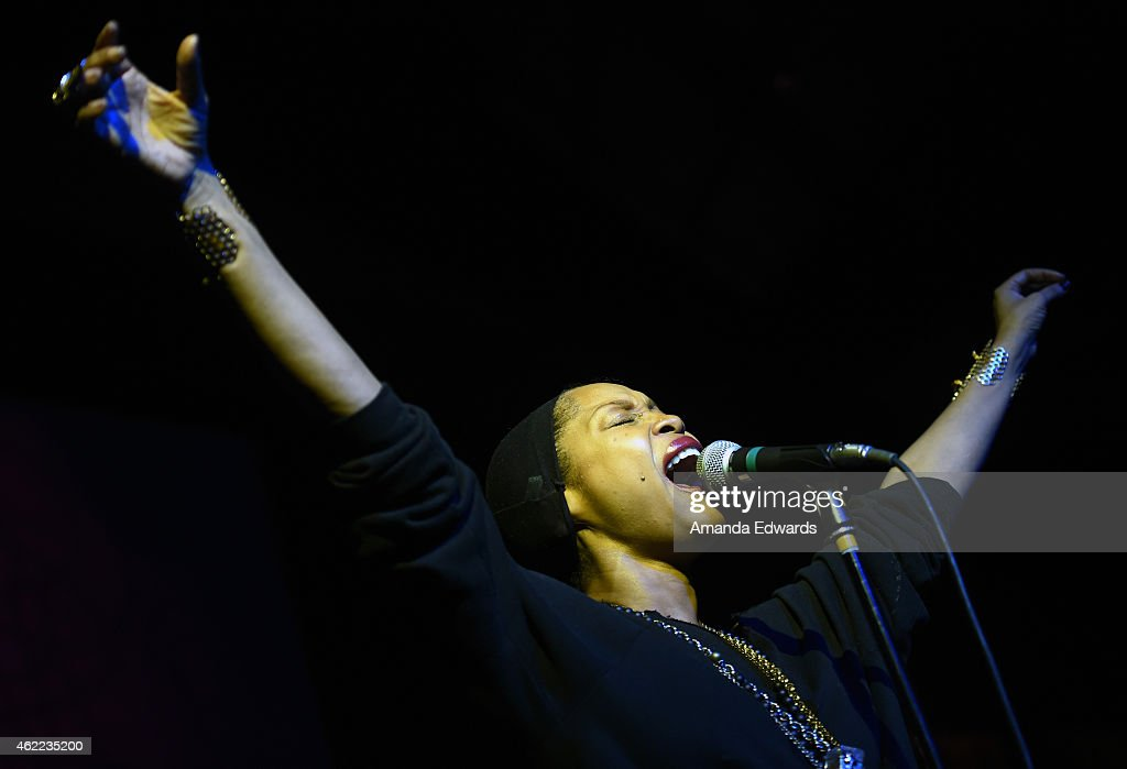 Recording artist Erykah Badu performs onstage at the Celebration of Music in Film event during the 2015 Sundance Film Festival on January 25 2015 in...