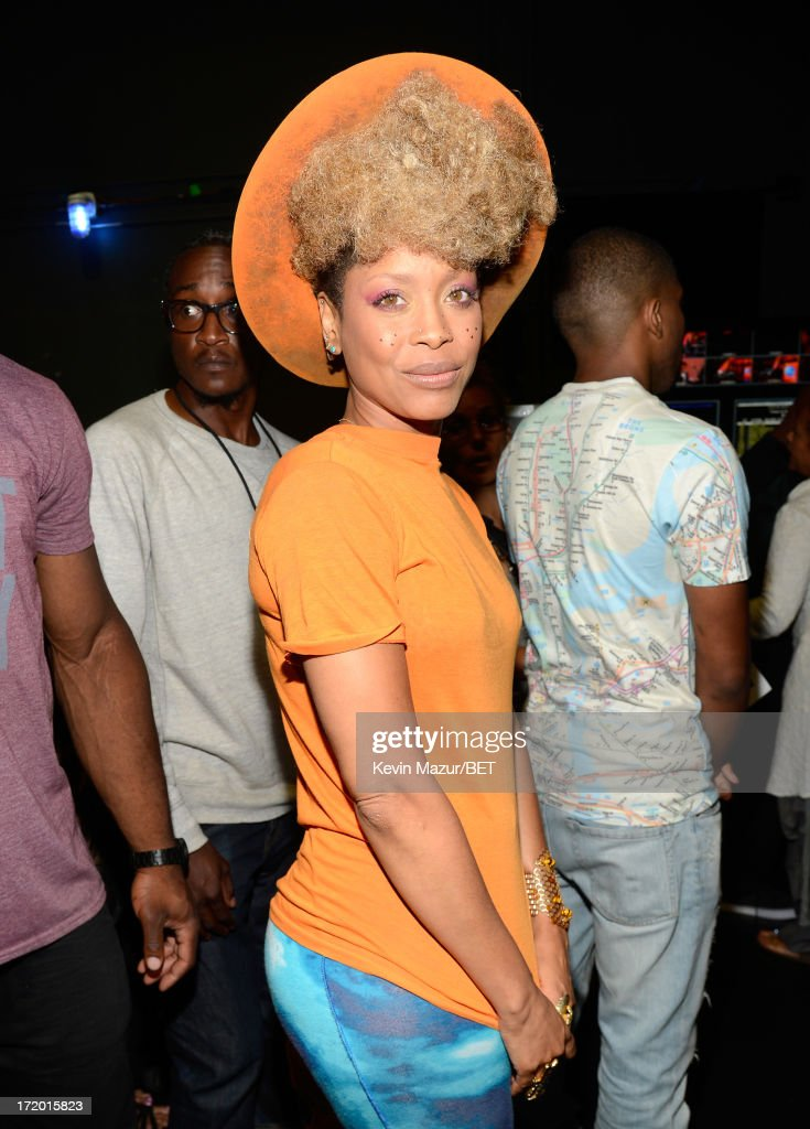 Recording artist Erykah Badu poses backstage during the 2013 BET Awards at Nokia Theatre LA Live on June 30 2013 in Los Angeles California
