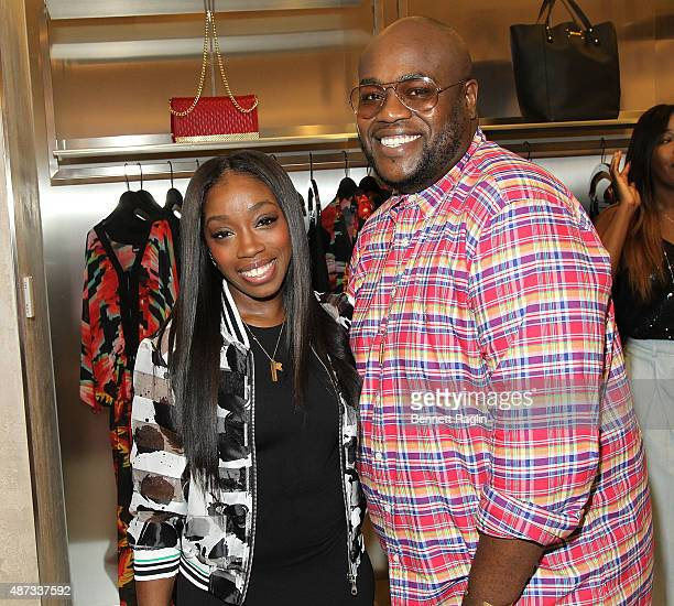 Recording artist Estelle and Stylist Wouri Vice attend the Just Cavalli Kick Off New York Fashion Week At The Just Cavalli Soho Boutique on September...