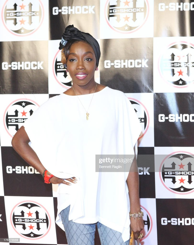 Recording artist <a gi-track='captionPersonalityLinkClicked' href=/galleries/search?phrase=Estelle+-+Singer&family=editorial&specificpeople=206205 ng-click='$event.stopPropagation()'>Estelle</a> attends G-Shock - Shock The World 2013 at Basketball City - Pier 36 - South Street on August 7, 2013 in New York City.