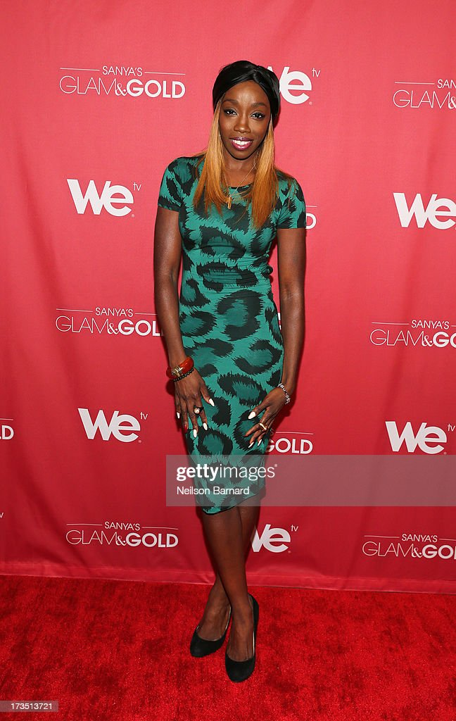 Recording artist <a gi-track='captionPersonalityLinkClicked' href=/galleries/search?phrase=Estelle+-+Singer&family=editorial&specificpeople=206205 ng-click='$event.stopPropagation()'>Estelle</a> attends the WE tv screening for 'Sanya's Glam & Gold' at The Gansevoort Park Ave on July 15, 2013 in New York City. Series premieres Thursday, July 25th at 10pm ET on WE tv.