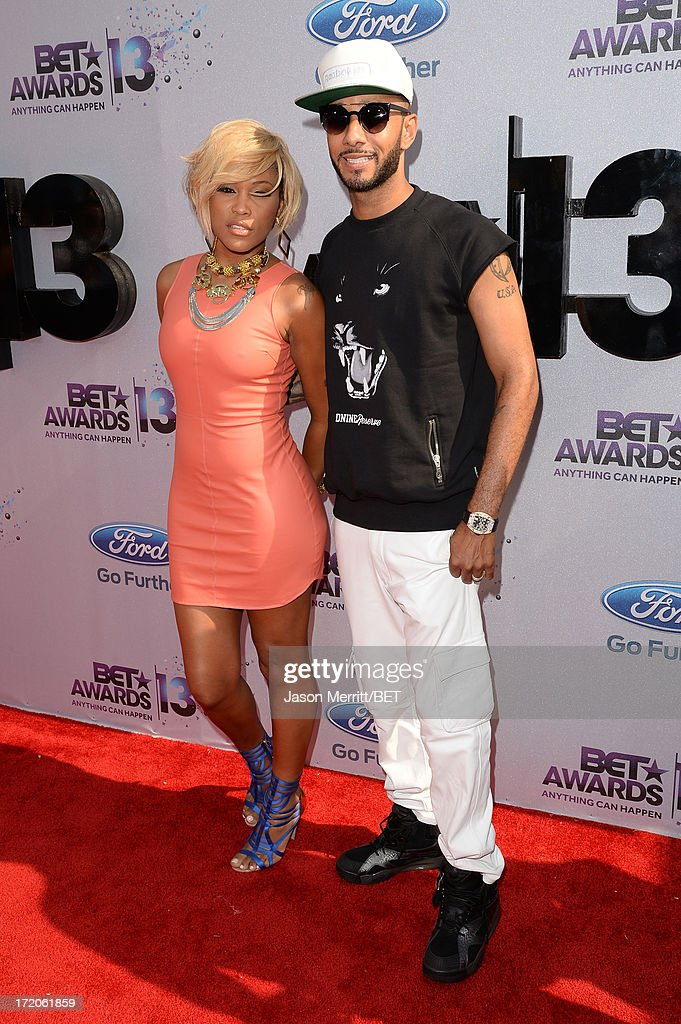 Recording Artist Eve and Swizz Beatz attend the Ford Red Carpet at the 2013 BET Awards at Nokia Theatre L.A. Live on June 30, 2013 in Los Angeles, California.