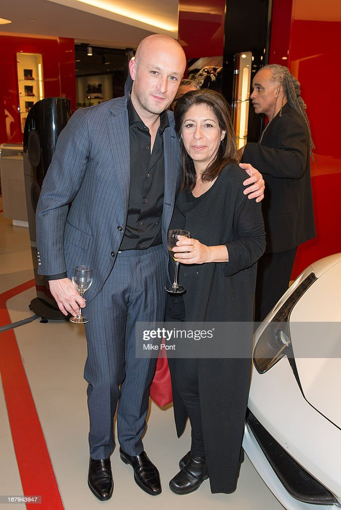 Recording Artist Fabrizio Sotti and Linda Carbone attend Fabrizio Sotti's 'Right Now' Album Listening Party at the Ferrari Corporate Showroom Of New York on May 2, 2013 in New York City.
