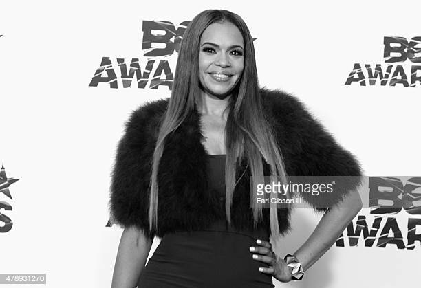 Recording artist Faith Evans poses in the press room during the 2015 BET Awards at the Microsoft Theater on June 28 2015 in Los Angeles California