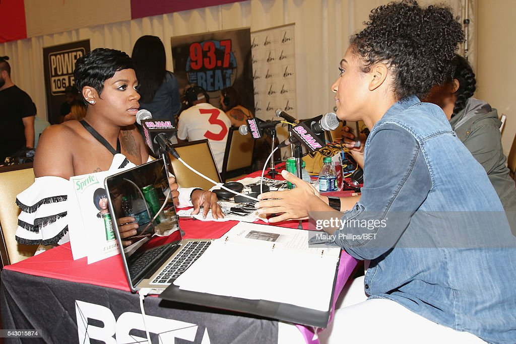 Recording artist Fantasia (L) attends the radio broadcast center during the 2016 BET Experience at the JW Marriott Los Angeles L.A. Live on June 25, 2016 in Los Angeles, California.