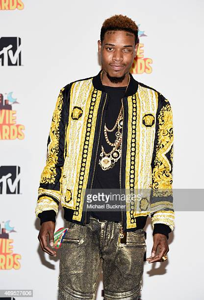 Recording artist Fetty Wap poses in the press room during The 2015 MTV Movie Awards at Nokia Theatre LA Live on April 12 2015 in Los Angeles...