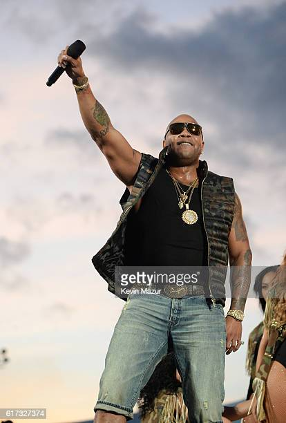 Recording artist Flo Rida performs onstage during 'Spike's Rock the Troops' event held at Joint Base Pearl Harbor Hickam on October 22 2016 in...