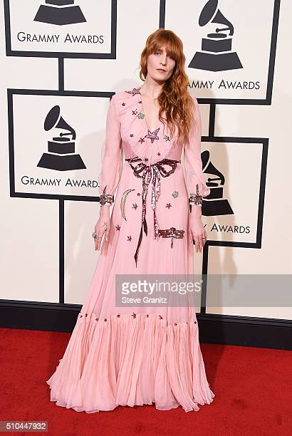 Recording artist Florence Welch of music group Florence the Machine attends The 58th GRAMMY Awards at Staples Center on February 15 2016 in Los...