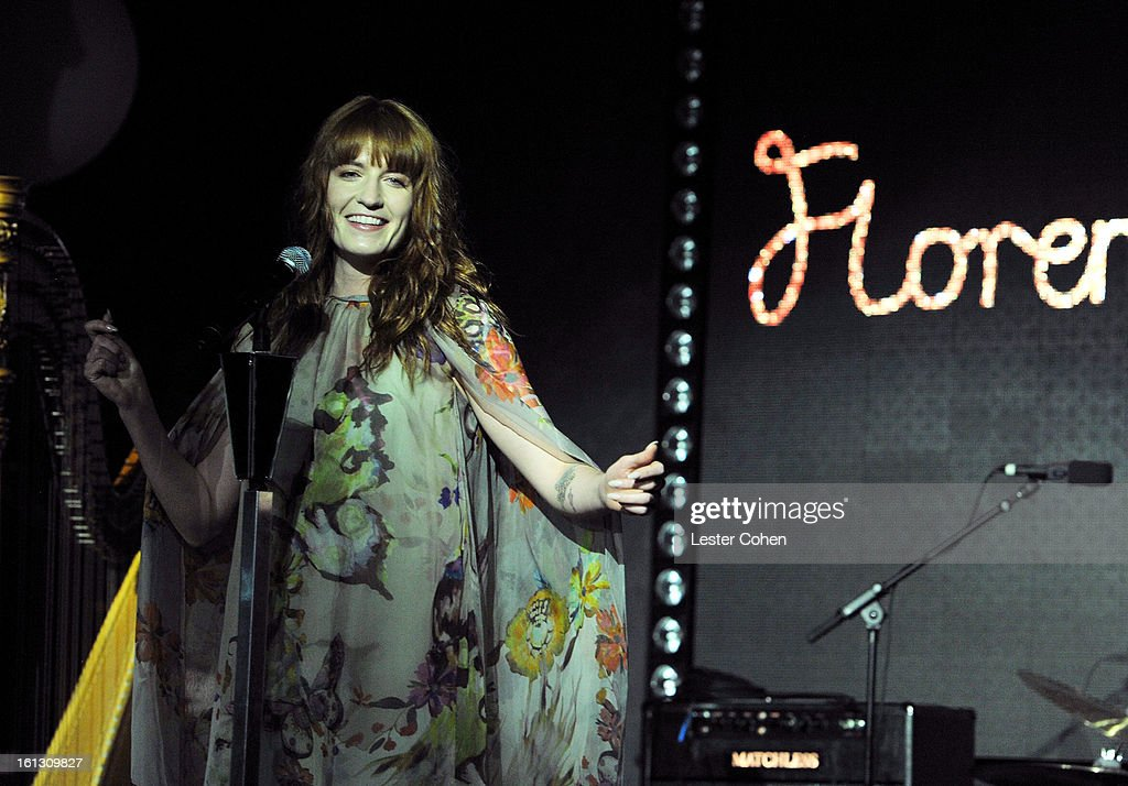 Recording artist <a gi-track='captionPersonalityLinkClicked' href=/galleries/search?phrase=Florence+Welch&family=editorial&specificpeople=5431574 ng-click='$event.stopPropagation()'>Florence Welch</a> performs onstage during Universal Music Group Showcase '13 at Lure on February 9, 2013 in Hollywood, California.