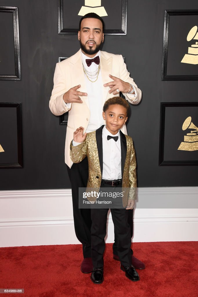 Recording artist French Montana and Kruz Montana attend The 59th GRAMMY Awards at STAPLES Center on February 12, 2017 in Los Angeles, California.