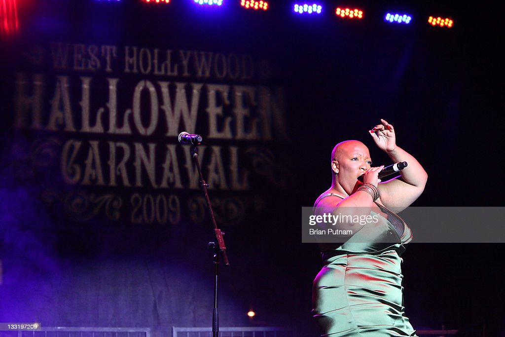Recording Artist Frenchie Davis performs at the '2009 West Hollywood Halloween Carnaval' on October 31 2009 in West Hollywood California