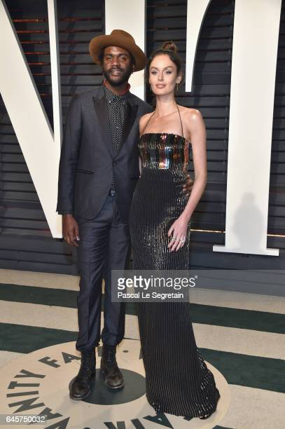 Recording artist Gary Clark Jr and model Nicole Trunfio attend the 2017 Vanity Fair Oscar Party hosted by Graydon Carter at Wallis Annenberg Center...