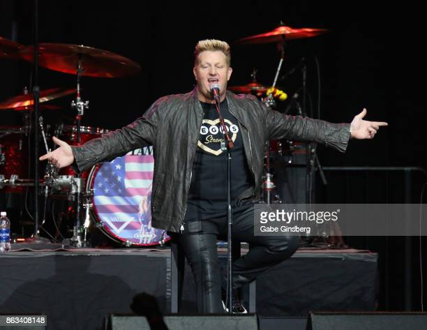 Recording artist Gary LeVox of Rascal Flatts performs during 'Vegas Strong A Night of Healing' at the Orleans Arena on October 19 2017 in Las Vegas...
