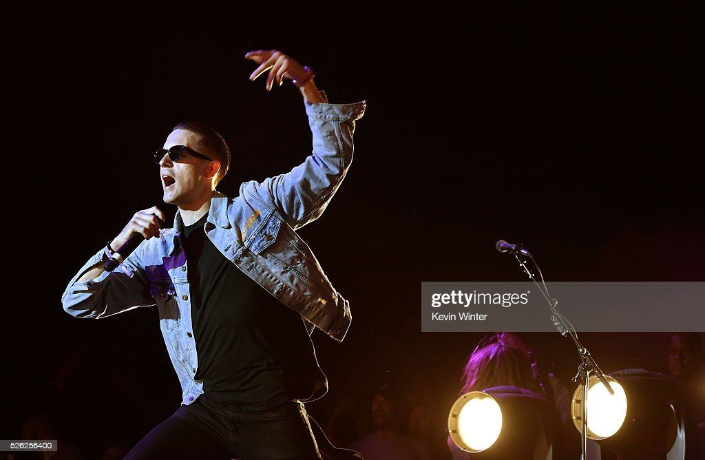 Recording artist GEazy performs with singer Sam Hunt onstage during 2016 Stagecoach California's Country Music Festival at Empire Polo Club on April...