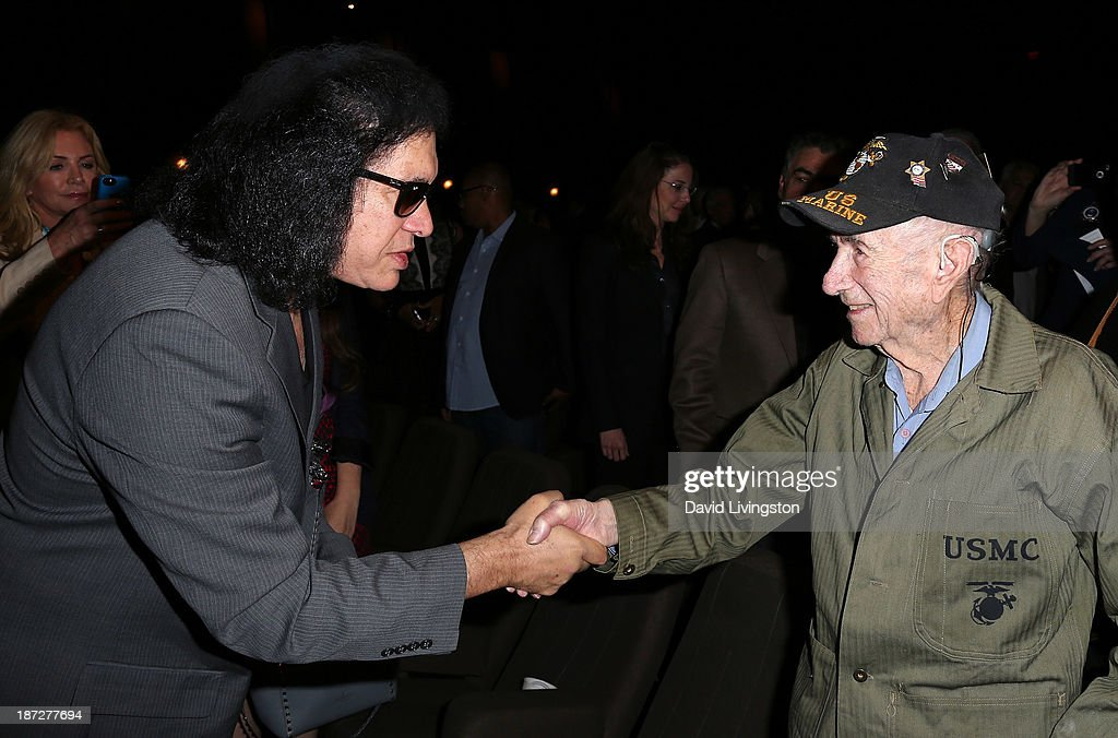 Recording artist <a gi-track='captionPersonalityLinkClicked' href=/galleries/search?phrase=Gene+Simmons&family=editorial&specificpeople=138593 ng-click='$event.stopPropagation()'>Gene Simmons</a> (L) and USMC vet Abe Schneider attend <a gi-track='captionPersonalityLinkClicked' href=/galleries/search?phrase=Gene+Simmons&family=editorial&specificpeople=138593 ng-click='$event.stopPropagation()'>Gene Simmons</a> being honored with the Durning Patriotism Award at the Salute to Veterans event hosted by the California Disabled Veterans Business Alliance at Paramount Studios on November 7, 2013 in Hollywood, California.