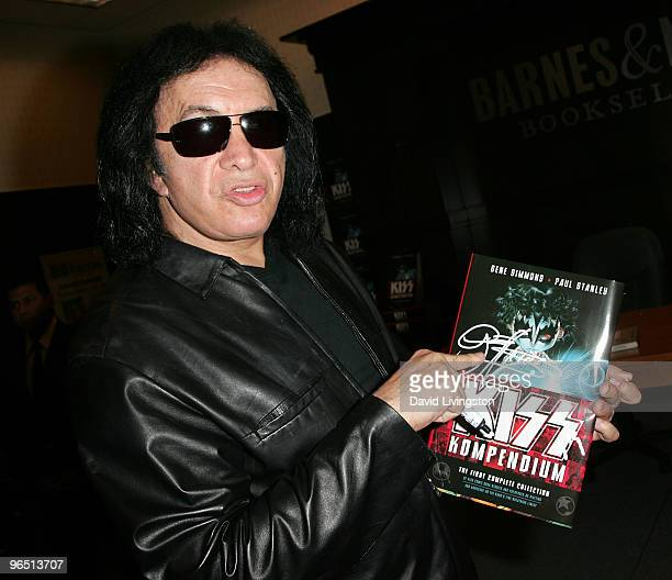 Recording artist Gene Simmons attends a book signing for 'KISS Kompendium' at Barnes Noble Booksellers at The Grove on February 8 2010 in Los Angeles...