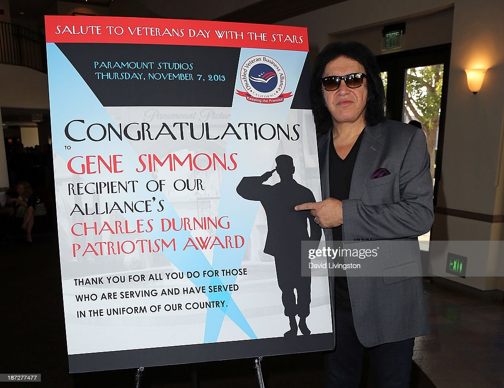 Recording artist <a gi-track='captionPersonalityLinkClicked' href=/galleries/search?phrase=Gene+Simmons&family=editorial&specificpeople=138593 ng-click='$event.stopPropagation()'>Gene Simmons</a> attends his being honored with the Durning Patriotism Award at the Salute to Veterans event hosted by the California Disabled Veterans Business Alliance at Paramount Studios on November 7, 2013 in Hollywood, California.