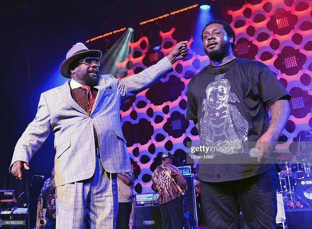 Recording artist <a gi-track='captionPersonalityLinkClicked' href=/galleries/search?phrase=George+Clinton&family=editorial&specificpeople=224677 ng-click='$event.stopPropagation()'>George Clinton</a> (L) of Parliament-Funkadelic and recording artist <a gi-track='captionPersonalityLinkClicked' href=/galleries/search?phrase=T-Pain&family=editorial&specificpeople=1223407 ng-click='$event.stopPropagation()'>T-Pain</a> perform at the 13th annual Michael Jordan Celebrity Invitational gala at the ARIA Resort & Casino at CityCenter on April 4, 2014 in Las Vegas, Nevada.