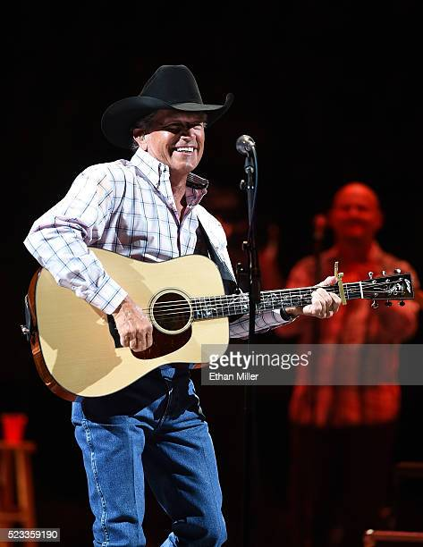 Recording artist George Strait performs during the first of his 'Strait to Vegas' shows at TMobile Arena on April 22 2016 in Las Vegas Nevada
