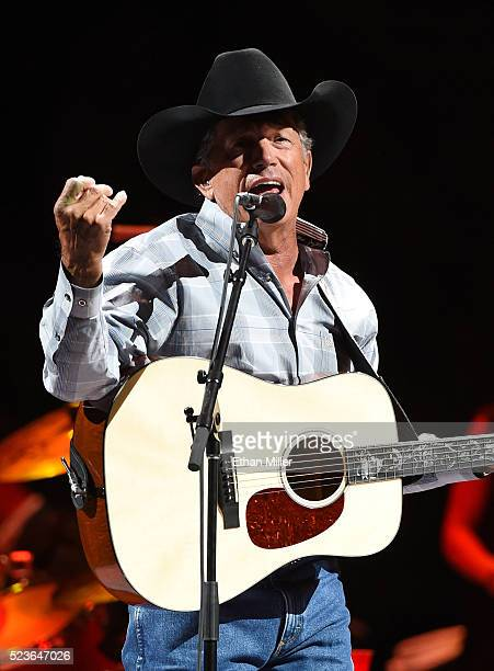 Recording artist George Strait performs during the second night of his 'Strait to Vegas' shows at TMobile Arena on April 23 2016 in Las Vegas Nevada