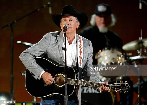 Recording artist George Strait performs onstage during ACM Presents An AllStar Salute To The Troops at the MGM Grand Garden Arena on April 7 2014 in...