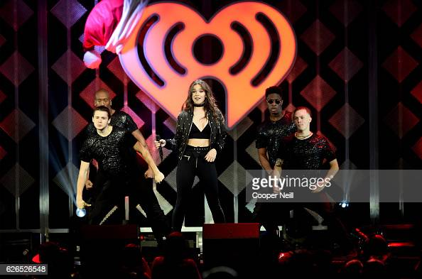 Recording artist Hailee Steinfeld performs onstage at 1061 KISS FM's Jingle Ball 2016 presented by Capital One at American Airlines Center on...
