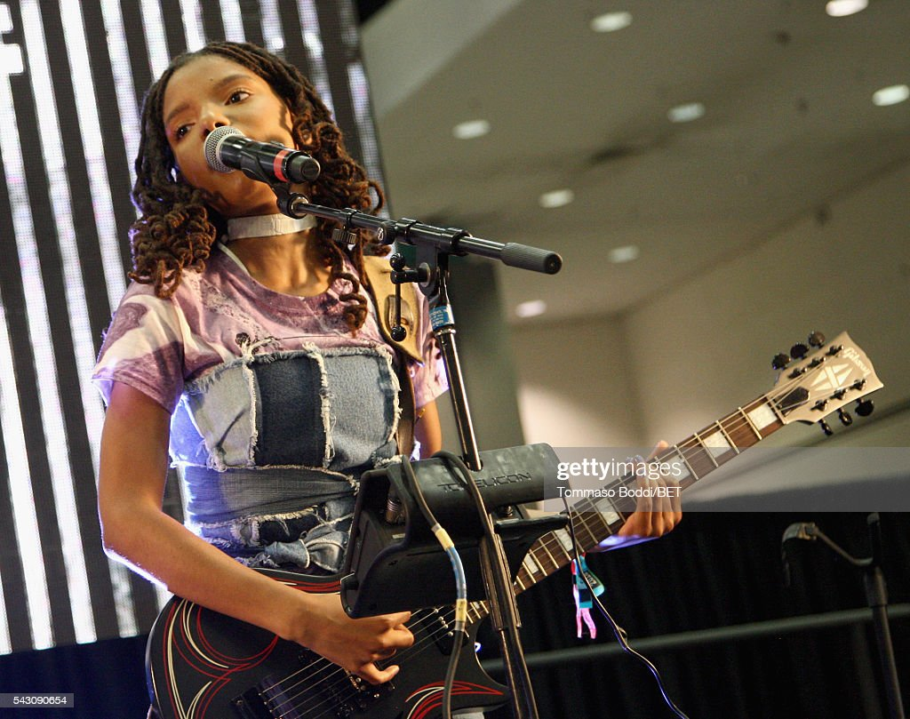 Recording artist Halle Bailey of Chloe x Halle performs onstage at the Coke music studio during the 2016 BET Experience on June 25, 2016 in Los Angeles, California.