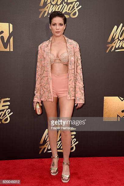 Recording artist Halsey attends the 2016 MTV Movie Awards at Warner Bros Studios on April 9 2016 in Burbank California MTV Movie Awards airs April 10...