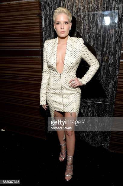 Recording artist Halsey poses backstage during the The 59th GRAMMY Awards at STAPLES Center on February 12 2017 in Los Angeles California
