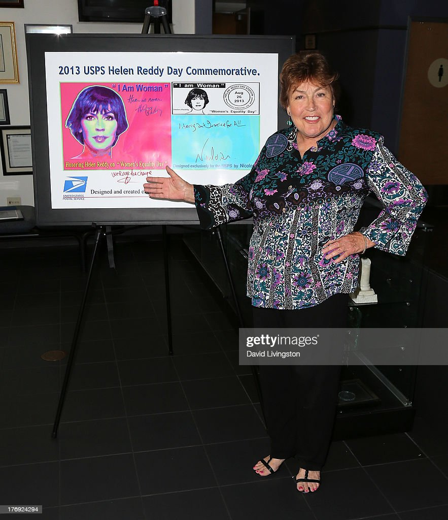 Recording artist Helen Reddy attends the unveiling of the new United States Postal Service special pictorial postmark featuring Helen Reddy on August 19, 2013 in West Hollywood, California.