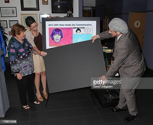 Recording artist Helen Reddy West Hollywood Mayor Mayor Abbe Land and pop artist Nicolosi attend the unveiling of the new United States Postal...