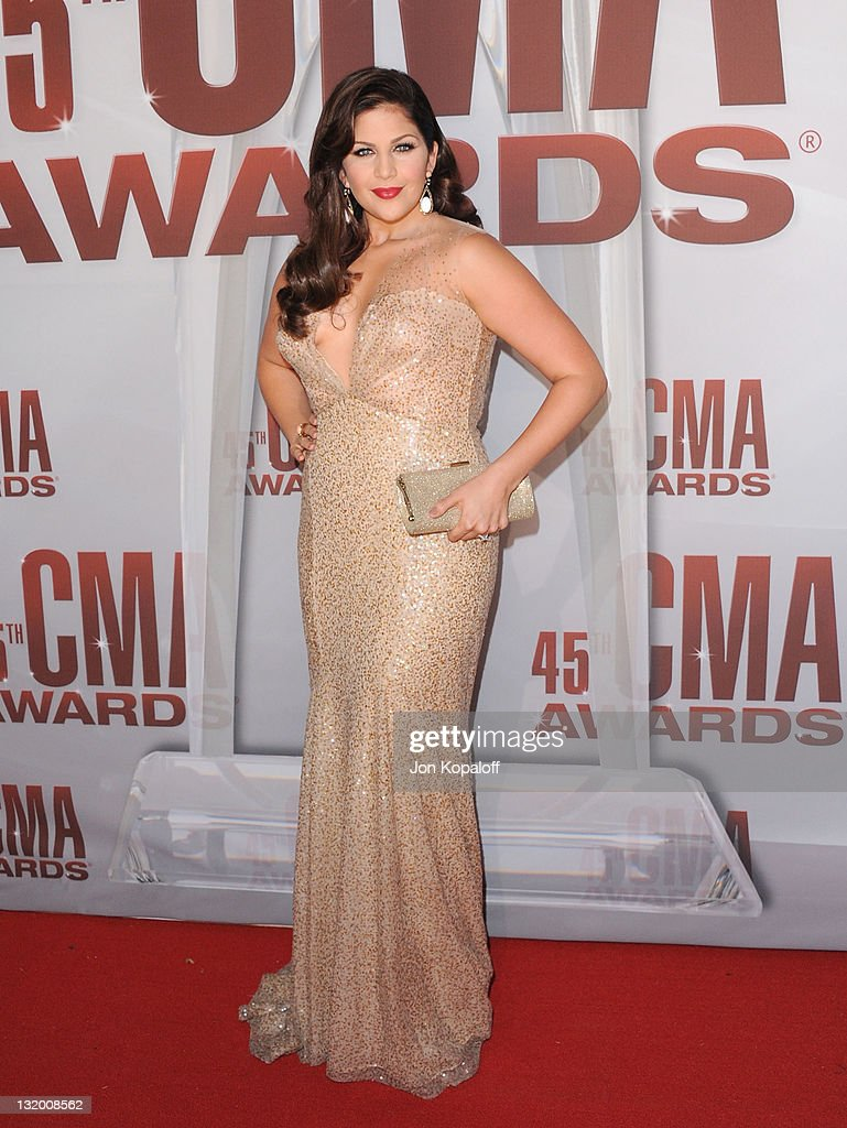 Recording artist Hillary Scott of Lady Antebellum arrives at the 45th annual CMA Awards at the Bridgestone Arena on November 9, 2011 in Nashville, Tennessee.