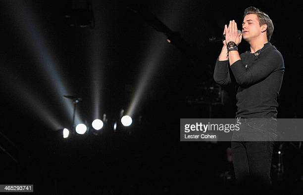 Recording artist Hunter Hayes performs onstage during the 56th GRAMMY Awards at Staples Center on January 26 2014 in Los Angeles California