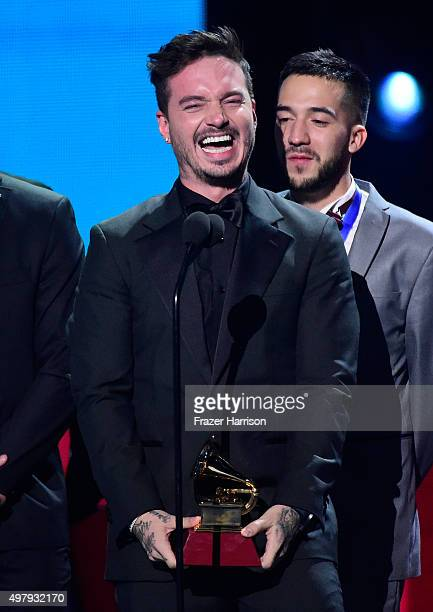 Recording artist J Balvin accepts the Best Urban Song award for 'Ay Vamos' onstage during the 16th Latin GRAMMY Awards at the MGM Grand Garden Arena...