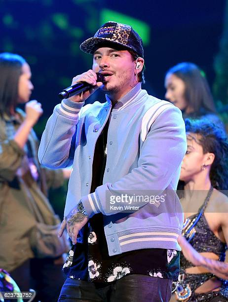 Recording artist J Balvin performs onstage during rehearsals for the 17th annual Latin Grammy Awards at TMobile Arena on November 16 2016 in Las...