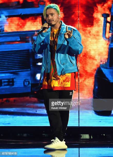 Recording artist J Balvin performs onstage during the 2017 MTV Movie And TV Awards Rehearsals at The Shrine Auditorium on May 6 2017 in Los Angeles...