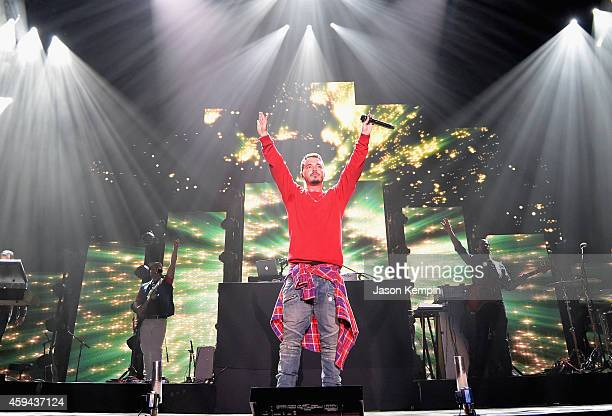 Recording artist J Balvin performs onstage during the iHeartRadio Fiesta Latina festival presented by Sprint at The Forum on November 22 2014 in...