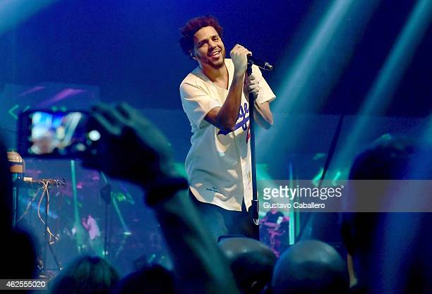 Recording artist J Cole performs during ESPN the Party at WestWorld of Scottsdale on January 30 2015 in Scottsdale Arizona