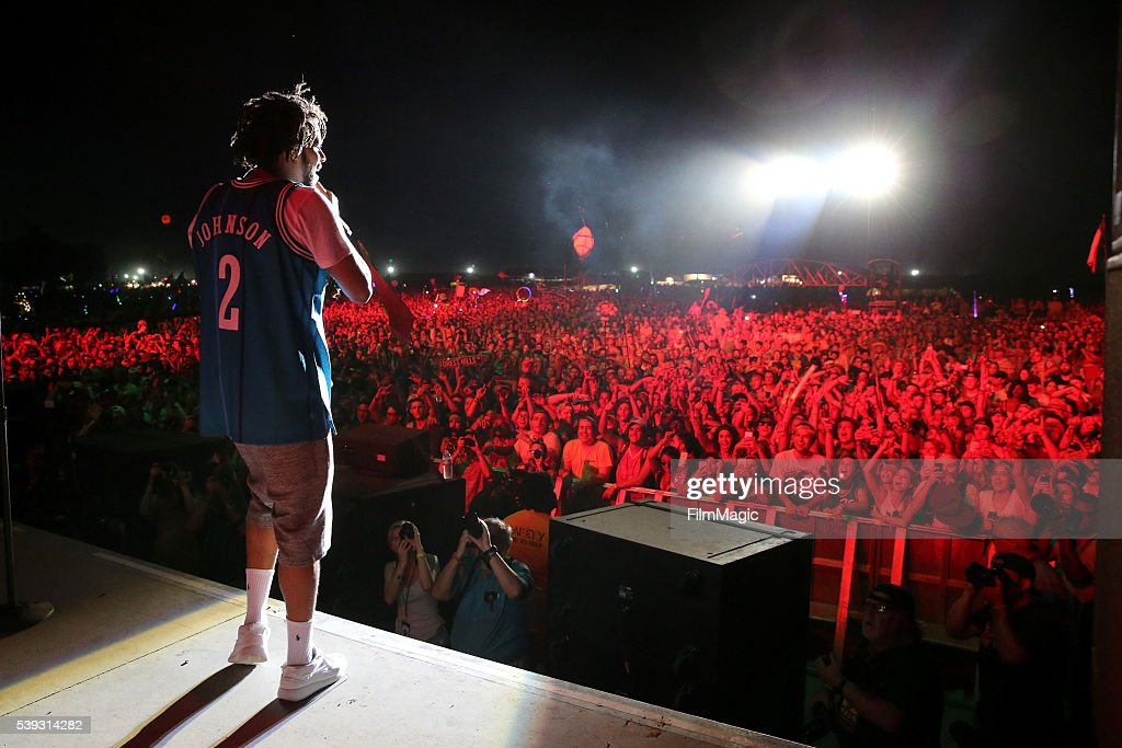 Recording artist J Cole performs onstage at What Stage during Day 2 of the 2016 Bonnaroo Arts And Music Festival on June 10 2016 in Manchester...