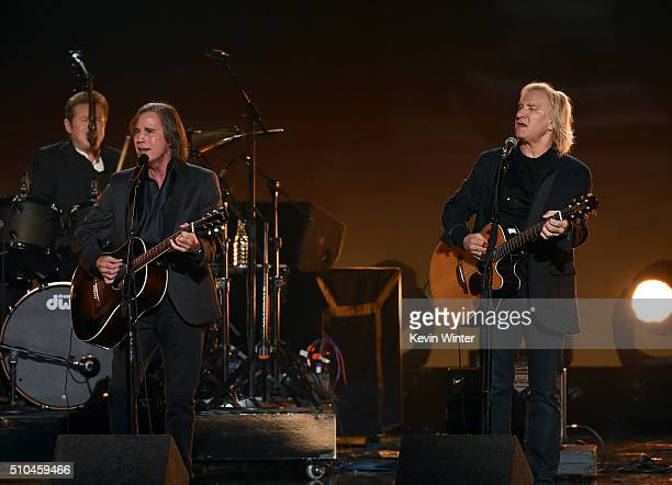 Recording artist Jackson Browne performs with Eagles band members Don Henley and Joe Walsh onstage during The 58th GRAMMY Awards at Staples Center on...