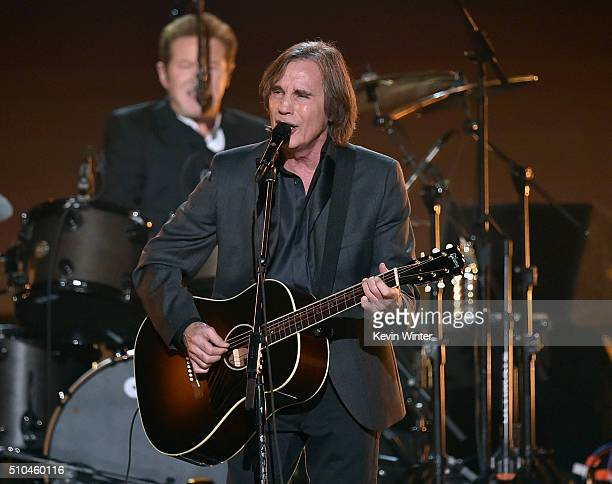 Recording artist Jackson Browne performs with Eagles band members Don Henley onstage during The 58th GRAMMY Awards at Staples Center on February 15...