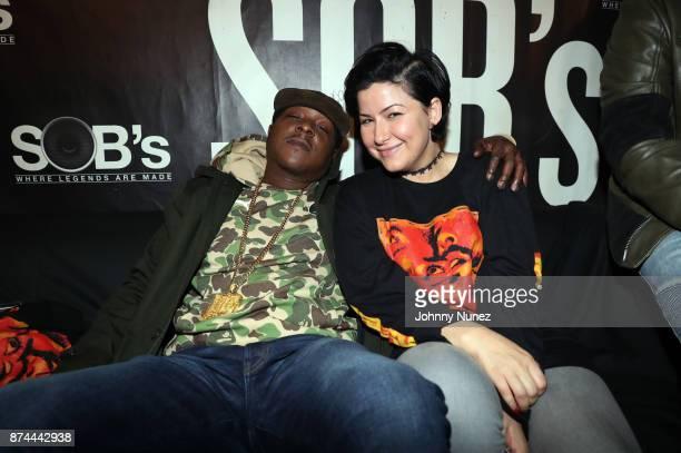 Recording artist Jadakiss and talent agent Lola Plaku backstage at SOB's on November 14 2017 in New York City