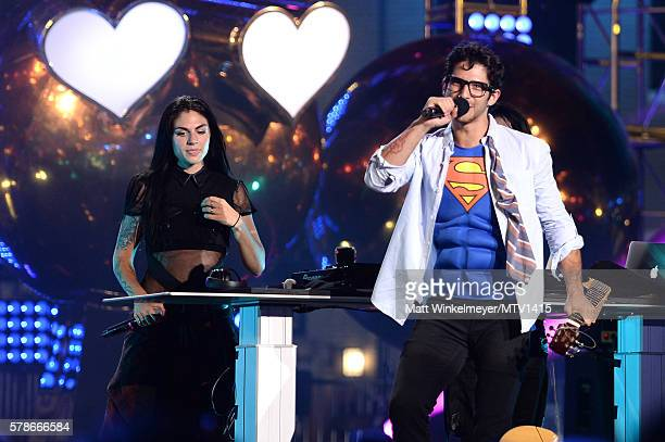 Recording artist Jahan Yousaf of musical group Krewella and Host Tyler Posey onstage at the MTV Fandom Awards San Diego at PETCO Park on July 21 2016...