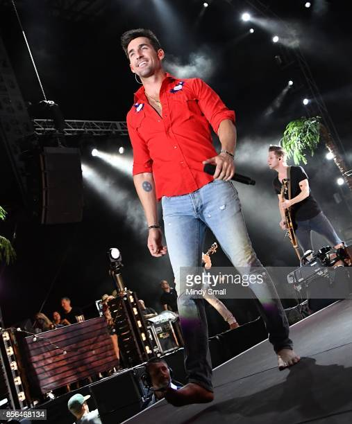 Recording artist Jake Owen performs during the Route 91 Harvest country music festival at the Las Vegas Village on October 1 2017 in Las Vegas Nevada