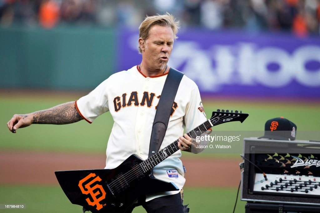 Recording artist <a gi-track='captionPersonalityLinkClicked' href=/galleries/search?phrase=James+Hetfield&family=editorial&specificpeople=178297 ng-click='$event.stopPropagation()'>James Hetfield</a> of Metallica performs the national anthem before the game between the San Francisco Giants and the Los Angeles Dodgers at AT&T Park on May 3, 2013 in San Francisco, California.